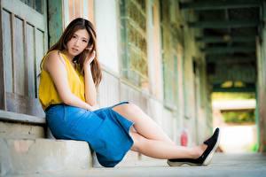 Фото Азиаты Боке Шатенки Юбки Сидящие Девушки