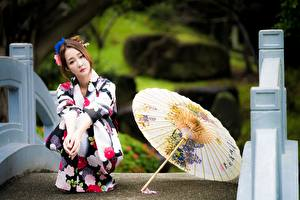 Картинки Азиаты Размытый фон Шатенка Зонтом Сидя Кимоно молодая женщина