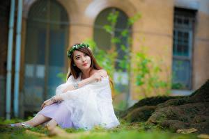 Фотография Азиатка Боке Сидит Шатенки Смотрит Венок молодые женщины