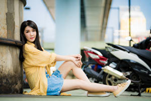 Картинка Азиаты Брюнетки Сидящие Ноги Юбки Рубашке Смотрят Боке Девушки
