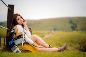 Обои Азиатки Трава Размытый фон Шатенки Сидя Ноги Девушки