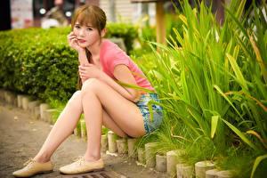 Обои Азиатки Кусты Шатенка Сидящие Ног молодая женщина