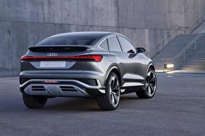 Обои для рабочего стола Ауди Кроссовер Металлик Вид сзади Q4 Sportback e-tron Concept, 2020 авто