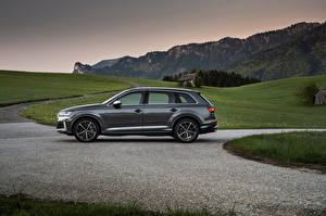 Фото Audi CUV Серый Металлик Сбоку SQ7 TFSI, Worldwide, 2020 Автомобили