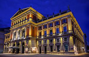 Фотографии Австрия Вена Дома Ночь Уличные фонари Musikverein Города