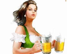 Фотография Пиво Официантки Белом фоне Кружки девушка