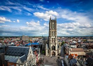 Обои для рабочего стола Бельгия Гент Дома Собор Небо Улица Башни Облака St Bavo's Cathedral Города