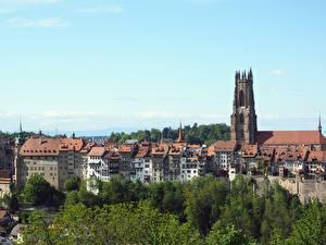 Картинки Собор Швейцария Дома Fribourg, Cathedral St. Nicholas Города