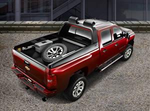 Картинка Шевроле Красный Металлик Пикап кузов Сверху Silverado HD Z71 Crew Cab Concept, 2007 Автомобили