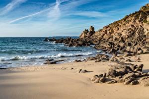 Фотография Побережье Камень Море Волны Пляж