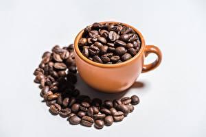 Фотография Кофе Зерно Чашка Сером фоне Пища