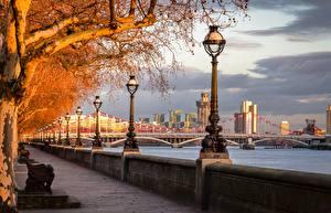 Фотографии Англия Осень Река Мосты Лондоне Набережной Уличные фонари Деревья River Thames, Chelsea Bridge город
