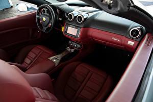 Картинка Ferrari Салоны Родстер Кожа материал Рулевое колесо California, North America, Pininfarina, 2009–12 Автомобили
