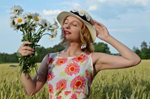 Фотография Поля Букеты Ромашки Блондинки Платья Шляпа Рука Victoria Borodinova молодые женщины Цветы