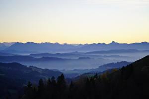 Картинка Леса Швейцария Холмы Туман Basel-Landschaft