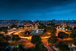 Фото Франция Здания Памятники Париже Городской площади Ночь Сверху Place de la Nation