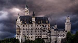 Фото Германия Замок Нойшванштайн Бавария Башни Туч Дерево Природа