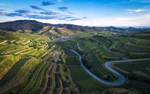 Обои Германия Поля Дороги Холмы Kaiserstuhl Природа картинки