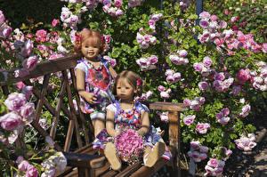 Фотография Германия Парк Роза Букеты Гортензия Кукла Девочка 2 Скамья Grugapark Essen Природа