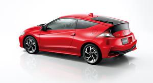 Обои Хонда Сером фоне Сбоку Красный Купе Гибридный автомобиль CR-Z, Hybrid (2010-2016) Автомобили