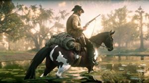 Обои Лошади Ружьё Мужчина Red Dead Redemption 2 Болото Шляпа Игры