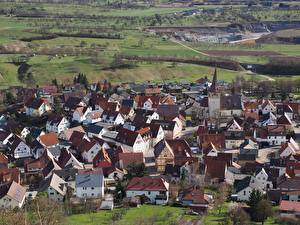 Картинка Дома Германия Село Сверху Kayh, Baden-Württemberg Города