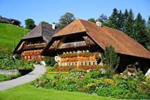 Картинки Здания Швейцария Траве Дизайна Farmhouse, Ründihaus, Schweizer Plateau