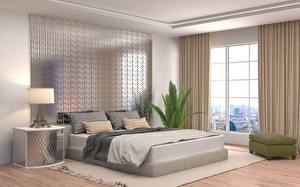 Картинка Интерьер Спальня Лампа Постель Подушки Дизайн 3D Графика