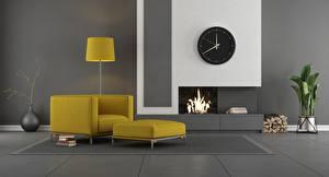Обои Интерьер Часы Комната Дизайн Камин Кресло Лампа 3D Графика картинки
