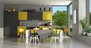 Обои Интерьер Кухня Дизайн Стол Стулья Окно 3D Графика картинки