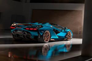 Обои для рабочего стола Lamborghini Родстер Голубой Sián Roadster, 2020 машины