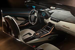 Картинки Ламборгини Салоны Родстер Рулевое колесо Sián Roadster, 2020 Автомобили