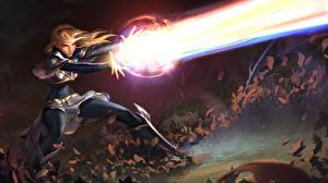 Обои League of Legends Волшебство Маг волшебник Legends of Runeterra Игры Девушки