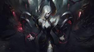 Обои League of Legends Блондинок Fan ART Morgana компьютерная игра Девушки