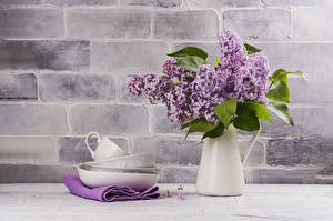Обои для рабочего стола Сирень Букет Вазе Чашка Блюдца Цветы
