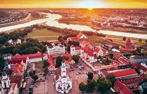 Фотография Литва Реки Дома Замки Собор Каунас Городской площади Сверху Santaka, Old Town город