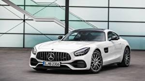 Картинки Mercedes-Benz Белых Спереди Металлик AMG gt, 2019 автомобиль