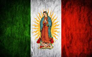 Фото Мексика Флаг Madonna, Maria, Regina Mundi, Saint Mary, Virgen de Guadalupe