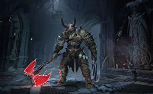 Обои для рабочего стола Монстры Doom Боевые топоры / Секиры Рога Броня eternal Игры