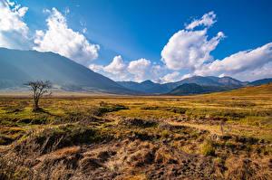 Фото Горы Луга Небо Долина Облака Траве Gangteng Valley, Bhutan