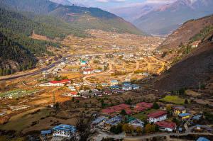 Картинка Гора Дома Долина Сверху Haa Valley, Bhutan Природа