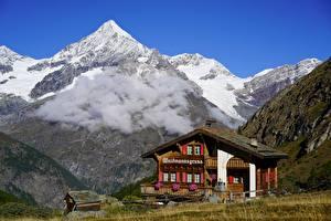 Фотография Горы Швейцария Здания Альпы Облако Снега Weisshorn, Valais Природа