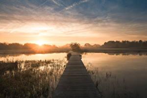 Фотография Голландия Утро Причалы Рассветы и закаты Водный канал Leusden, Utrecht, De Schammer Природа