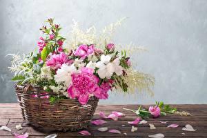 Обои для рабочего стола Пионы Корзинка Лепестки Стол Цветы картинки
