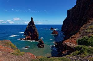 Фотографии Португалия Океан Небо Скалы Madeira