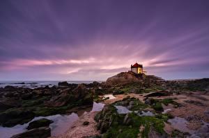 Обои Португалия Камень Церковь Мхом Capela do Senhor da Pedra Природа