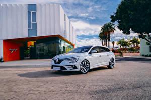 Картинки Renault Белый Металлик Гибридный автомобиль 2020 Mégane E-TECH Plug-in Hybrid Estate Worldwide автомобиль