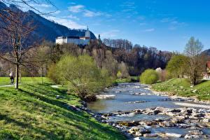 Картинки Река Камни Замки Германия Траве Бавария Castle Hohenaschau, river Prin Природа