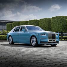 Фото Роллс ройс Голубой Металлик Роскошные Phantom 2019 Автомобили