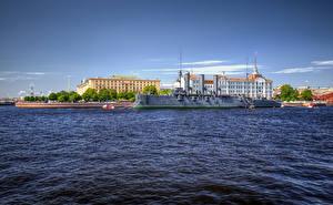Фотографии Россия Санкт-Петербург Здания Река Пристань Корабль Cruiser Aurora on the Bolshaya Nevka River Города